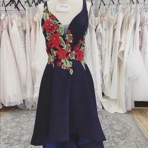 Navy High Low dress with Rose Detail